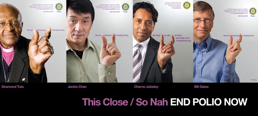 Bishop Tutu; Jackie Chan; Cherno Jobatey & Bill Gates Rotary Kampagne