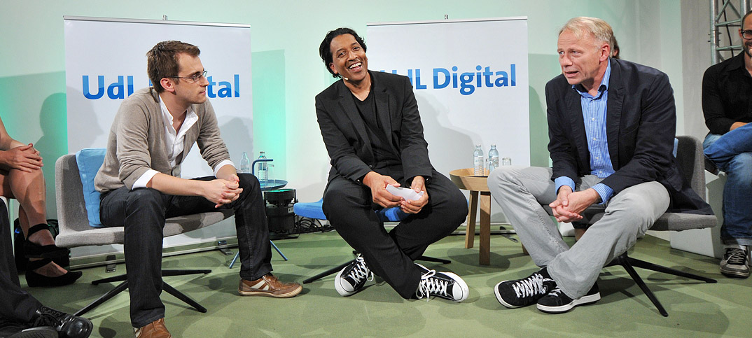 Jürgen Trittin, Ronny Patz & Cherno Jobatey in UdLDigital Talkshow