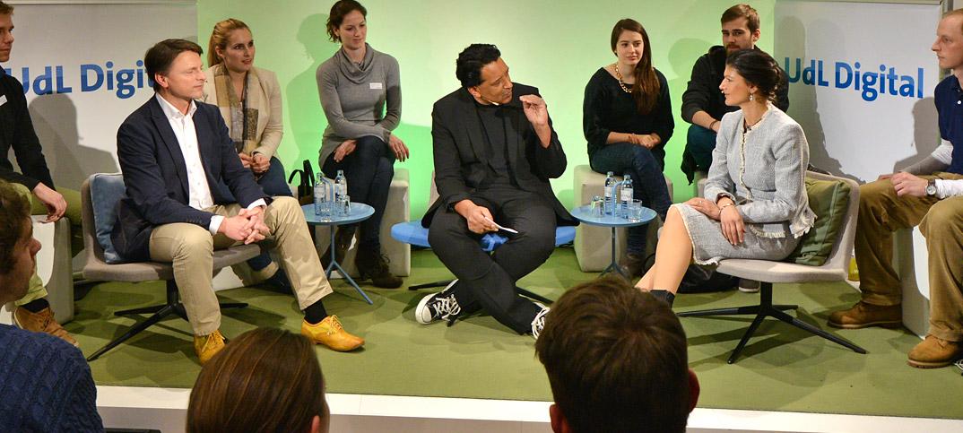 Sahra Wagenknecht, Gero Hesse & Cherno Jobatey in UdLDigital Talkshow