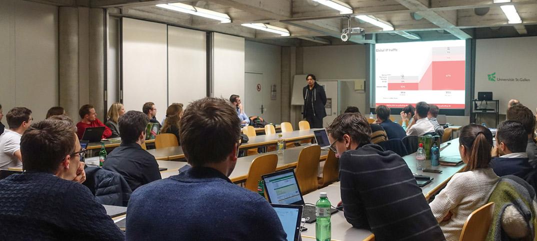 Cherno Jobatey lecturing St Gallen University