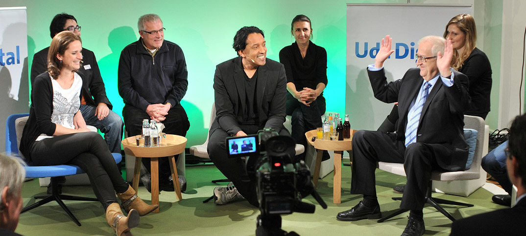 Rainer Brüderle, Verena Delius & Cherno Jobatey in UdLDigital Talkshow