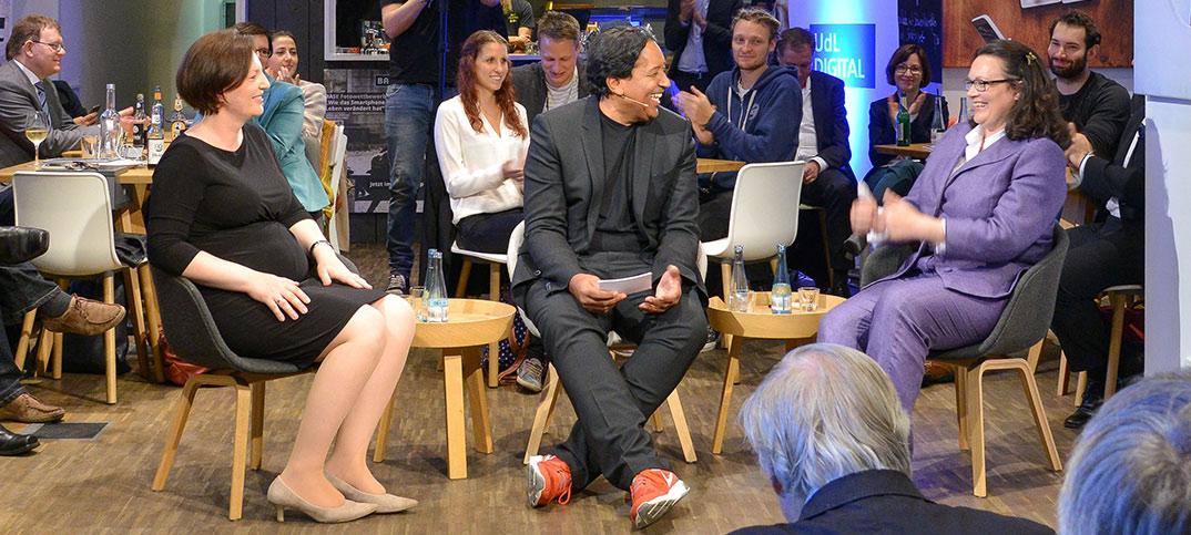 Andrea Nahles, Constanze Buchheim & Cherno Jobatey UdlDigital Talkshow