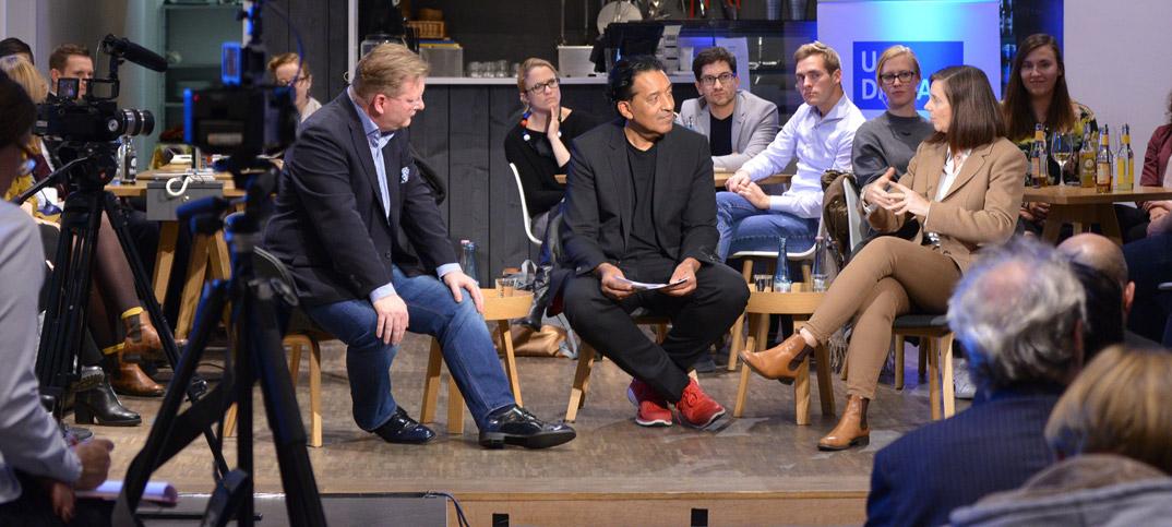 Katrin Göring-Eckardt, Christoph Igel & Cherno Jobatey in UdLDigital Talkshow