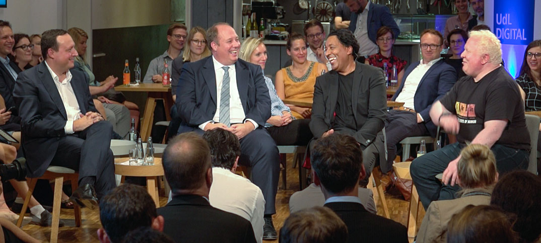 Markus Haas, Helge Braun, Cherno Jobatey & Chris Boos UdLDigital Talkshow