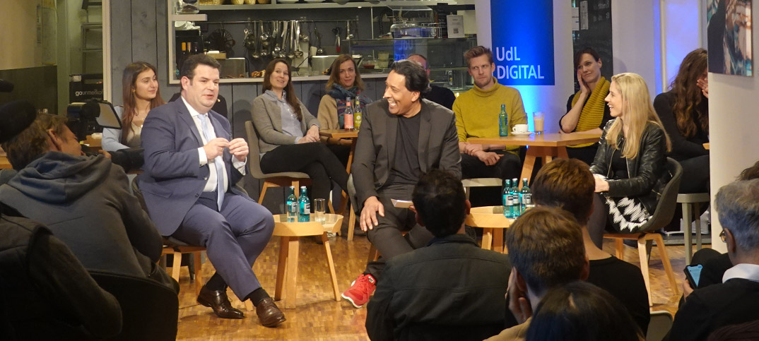 Hubertus Heil, Sarah Müller & Cherno Jobatey New Work UdLDigital Talkshow