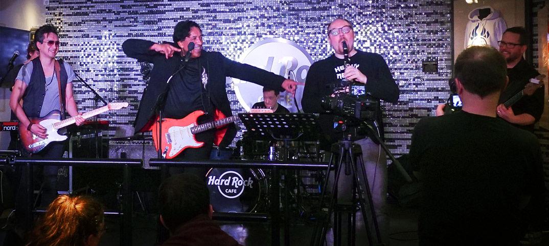 Clemens Trautmann, Cherno Jobatey & Groove Gangster GmbH im Hard Rock Café