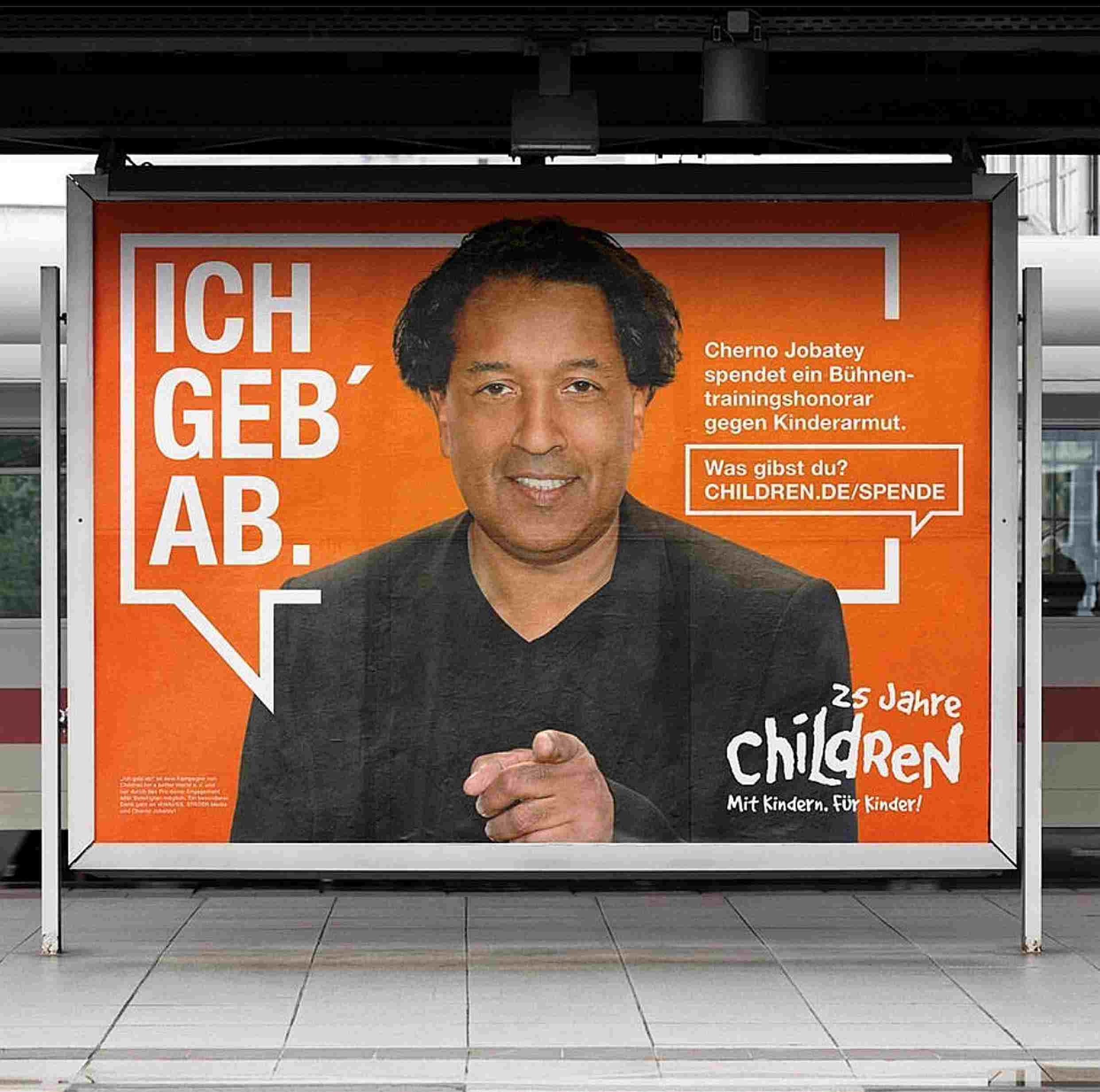 ch geb ab! Kampagne von Children for a better World e.V. mit Cherno Jobatey