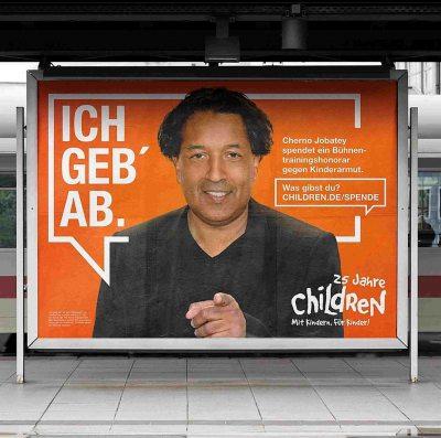 ch geb ab! Kampagne von Children for a better World e.V. mit Cherno Jobatey